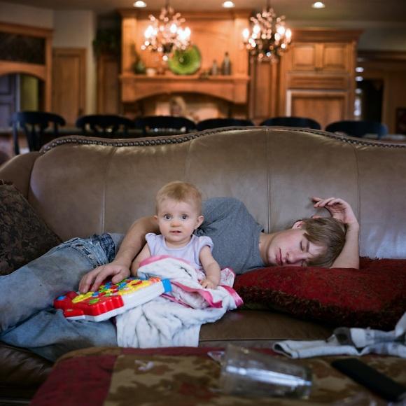 asleep while babysitting