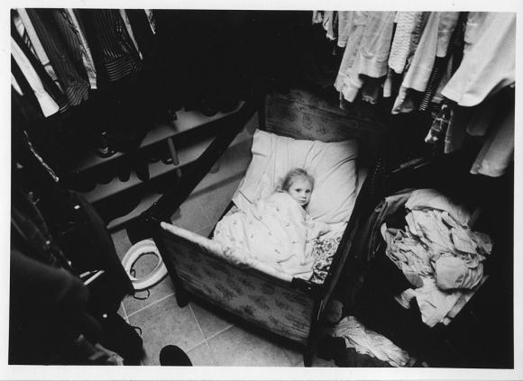 3 year old girl in crib