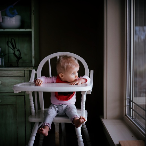 1 year old in highchair