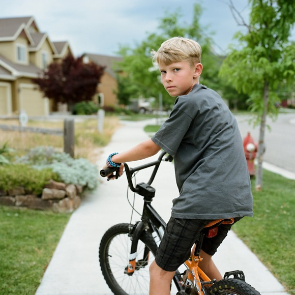 10 year old boy on his bmx bike