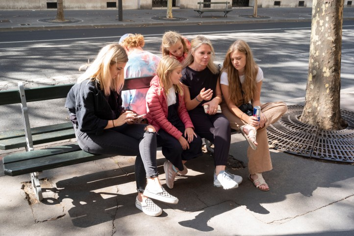 All together on a bench in Paris September 2018