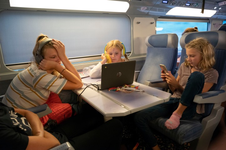 Grace Kimi and Lily on the high speed train to Paris September 2018