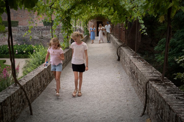 Grace Kimi Jack Bailey and Sam walking down a garden path in Albi France 2018