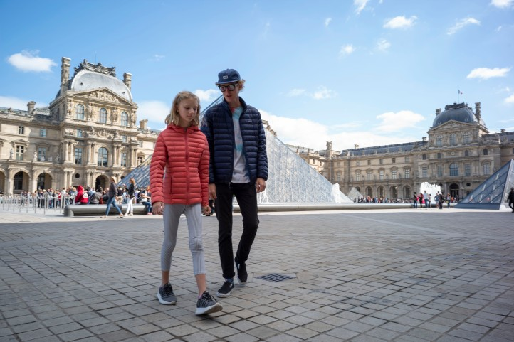 Jack and Grace walking by the Louvre Paris September 2018