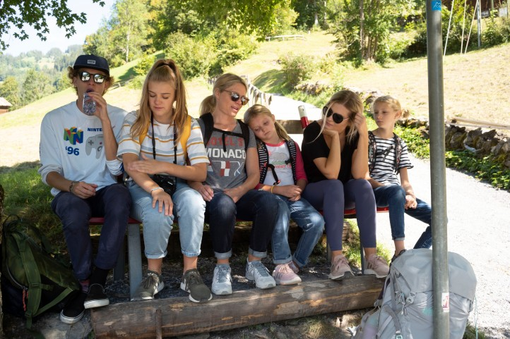 The kids and Sam after a hard hike in the Swiss Alps September 2018